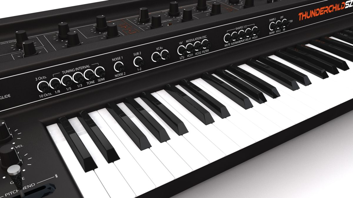 CGI of WOTW's Thunderchild Analog Synthesizer Keyboard