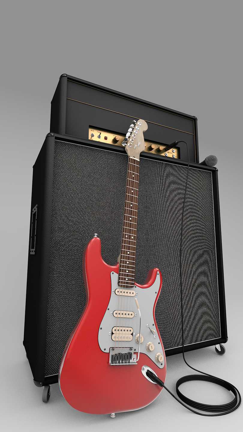 Fender guitar with Marshall Amp