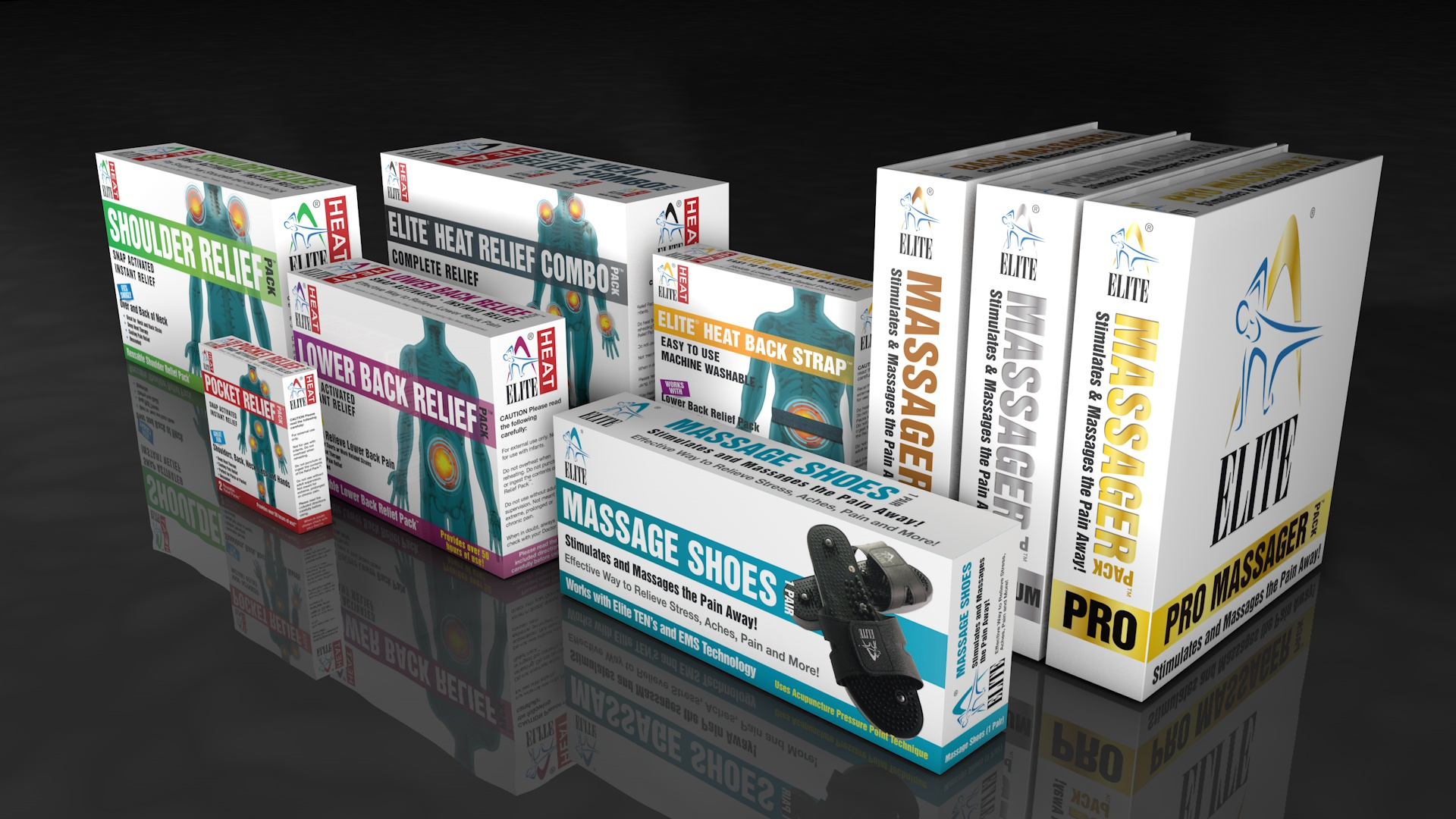 Elite Health products retail pack design CGI visualization