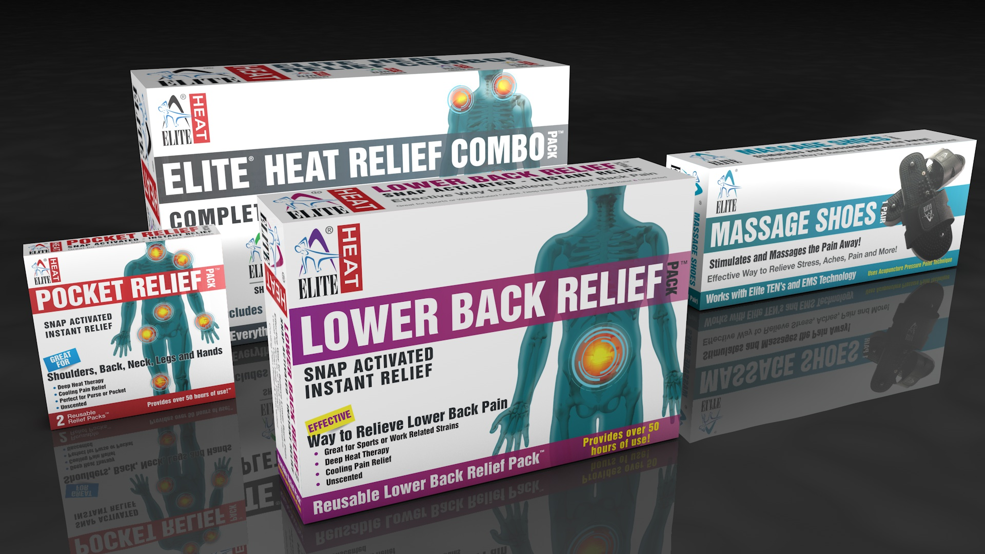 Elite Health products retail pack designs
