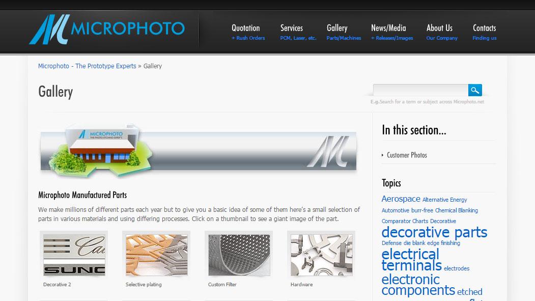Microphoto website design inside