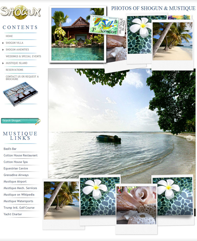 Website design for Shogun House Mustique