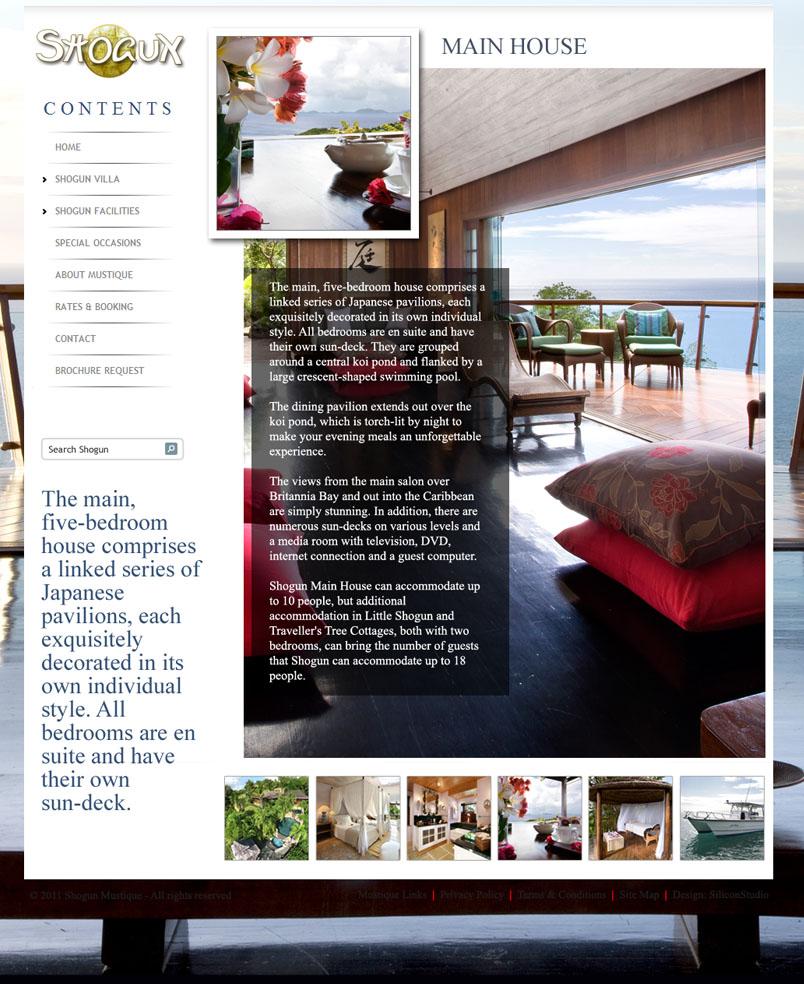 Website design for Shogun House Mustique