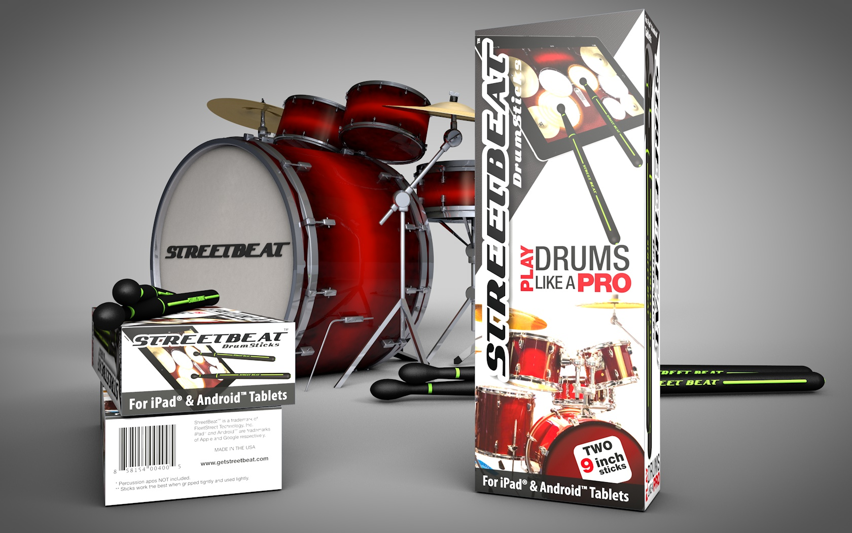 StreetBeat Drumsticks CGI of retail pack design