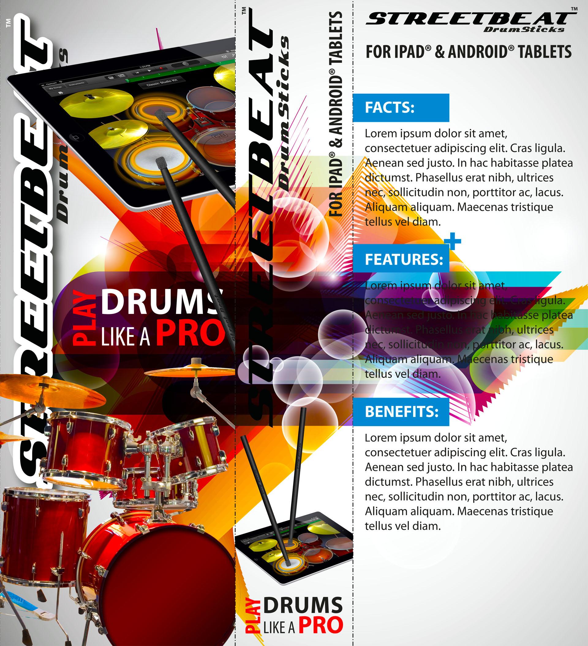 StreetBeat Drumsticks retail pack design