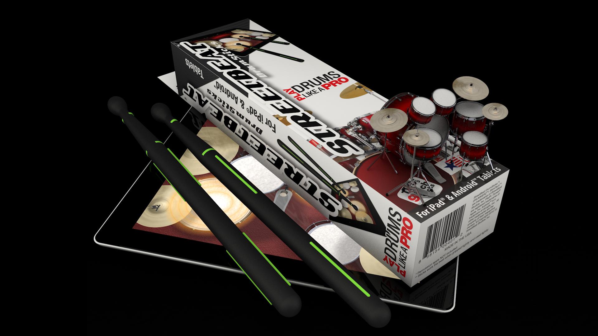 StreetBeat Drumsticks CGI of retail pack design on iPad